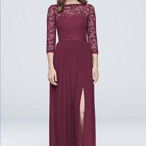 Wine colored bridesmaid dress